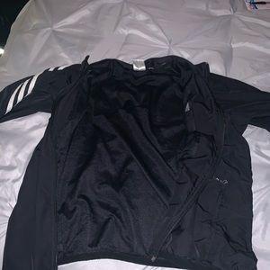 Black and white adidas windbreaker fleece